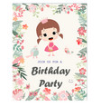 cute happy birthday girl in botanical flower frame vector image