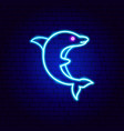 dolphin neon sign vector image