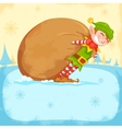 Elf dragging sack full of Christmas gifts vector image