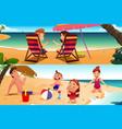 family having fun on beach vector image vector image