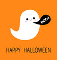 flying ghost spirit black talking bubble boo vector image vector image