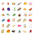 food icons set isometric style vector image vector image