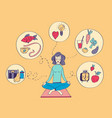 girl sitting in the lotus position and meditating vector image vector image