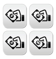 Hand with money icon - yuan peso wan rouble vector image