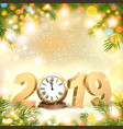 happy new year 2019 background with presents and vector image vector image