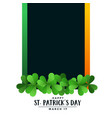 happy st patricks day background with text space vector image