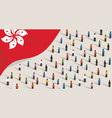 hongkong flag and crowd people protest vector image