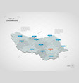 isometric luxembourg map with city names and vector image