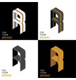 isometric set letter r black white gold palette vector image