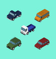 isometric transport set of suv lorry armored and vector image vector image