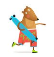 kids bear animal skating with longboard fun design vector image vector image