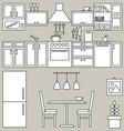 Kitchen interior line design vector image