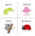 Letter I J K L Iguana Jellyfish Koala Ladybug Zoo vector image vector image