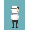Man is carrying a tall pile of books vector image