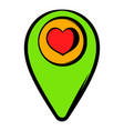 map pointer with heart icon icon cartoon vector image