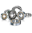 metal roller bearings on white vector image vector image