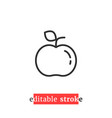 minimal editable stroke apple icon vector image