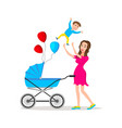 mom carrying young boy smiling mother holding son vector image vector image