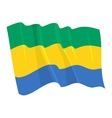 political waving flag of gabon vector image vector image