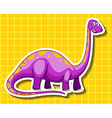 Purple dinosaur on yellow background vector image vector image