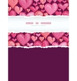 Red Valentines Day Hearts Vertical Torn Frame vector image vector image
