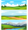 Scenes with field and road in countryside vector image
