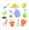 set icons gardening items vector image