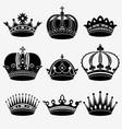 set nine crown vector image vector image