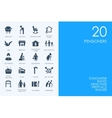 Set of BLUE HAMSTER Library pensioners icons vector image