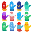 Set of Christmas mittens vector image vector image