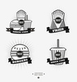 Set of fast food junk food logos with ribbon Fries vector image vector image