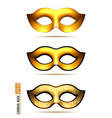set of golden carnival mask vector image