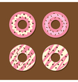 Set Of Strawberry Donuts vector image vector image
