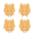 set with cute walnut characters nuts isolated vector image vector image