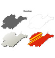 Shandong blank outline map set vector image vector image
