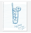 sketch cocktail on a notebook sheet vector image