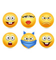 smiley face icons funny faces 3d realistic set vector image vector image