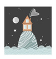 stylish card with cartoon house on hill at vector image