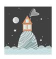 stylish card with cartoon house on hill vector image