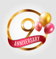 template gold logo 9 years anniversary with ribbon vector image vector image
