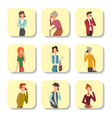 trendy flat people with phone gadgets cards group vector image vector image