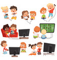 video gaming peoples kids boys and girls console vector image vector image