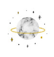 with saturn with marble texture trendy cosmic vector image