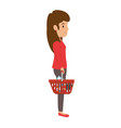 woman with shopping basket vector image