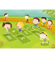 Young friends playing hopscotch vector image vector image