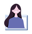 Young woman video online training isolated icon
