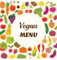 Vegan menu background Vegetarian Card Design Cute vector image