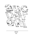 English hand drawn funky font from a to i vector image