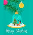 merry christmas snow globe reindeer greeting card vector image