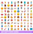 100 tasty food icons set cartoon style vector image vector image